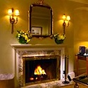Fireplace in room at Taj Boston Hotel