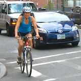 Cyclist in downtown Boston