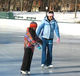 Ice skating in Boston on Frog Pond