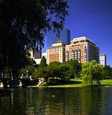 View of Taj Hotel Boston from across the Lagoon in the Public Garden