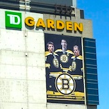 TD Garden in Boston, with Boston Bruins banner