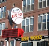 Photo of Boston Beer Works baseball sign near Fenway Park