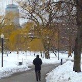 Walking in snow in Boston's Public Garden