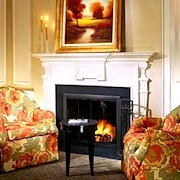 Room with fireplace in Lenox Hotel in Boston, MA