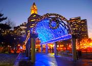 Holiday lights on trellis in Boston's Christopher Columbus Park