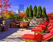 Rooftop terrace at XV Beacon Hotel in Boston