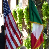 Photo of Italian and American flags near Boston's huge Columbus Day Parade held in the North End