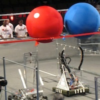 photo of robots competing at Boston FIRST competion at Agganis Arena, Boston University