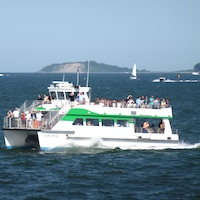 Boston Harbor Island ferry returning to Boston