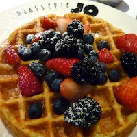 Belgian waffle with fresh berries at Braserrie Jo restaurant in Boston