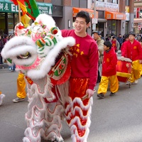 Lion Dance parade through Boston's Chinatown