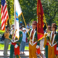 Photo of marchers in Boston's Columbus Day Parade
