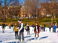 Ice skating on Frog Pond during winter vacation week in Boston
