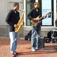 Jazz musicians playing on Boylston Street during Boston's Berklee BeanTown Jazz Festival - favorite September Boston Event