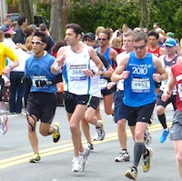 Photos of runners in the Boston Marathon