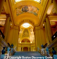 Grand staircase at Boston's Museum of Fine Arts - Find out about First Fridays