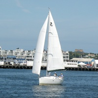 Sailboat in Charles River Basin, Boston MA
