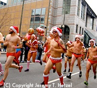 Santa Speedo Run in Back Bay Boston