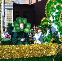 Photo of float in St Patrick's Day Parade in Boston