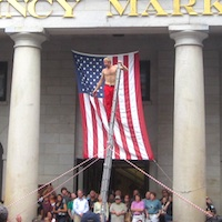 Street performer in Boston's Faneuil Hall Marketplace