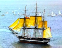 Photo of USS Constitution in Boston Harbor