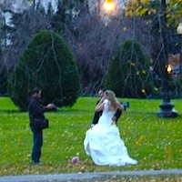 Photo of bride and groom at wedding in Boston Public Garden