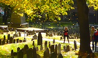 Photo of Boston fall foliage in historic Granary Burying Ground www.boston-discovery-guide.com