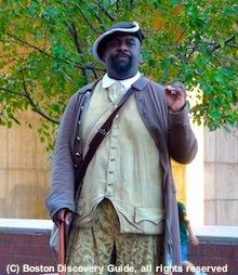 Crispus Attucks reenactor near Freedom Trail, Boston