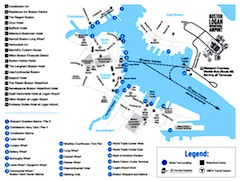 Boston water taxi destination map