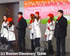 Carolers outside Macy's in Boston