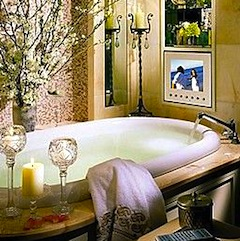 Luxury soaking tub at the Four Seasons Hotel in Boston MA
