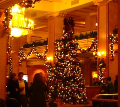 Christmas tree in Park Plaza Hotel Boston Lobby