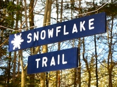 Photo of trail sign at Middlebury College Snow Bowl