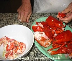 Bowl of lobster meat / Lobster Roll Recipe - www.boston-discovery-guide.com