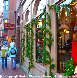 Holiday shoppers in Boston's Beacon Hill