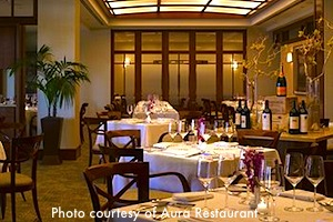Dining room at Aura, in Boston's Seaport Hotel / Boston Thanksgiving - www.boston-discovery-guide.com