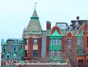 Rooftops along Boston's Beacon Street