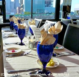 Dining deck in Spirit of Boston cruise ship