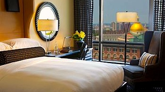 Photo of view from corner room at Nine Zero Hotel in Boston
