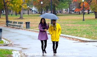 Walk through Boston Common in the Rain