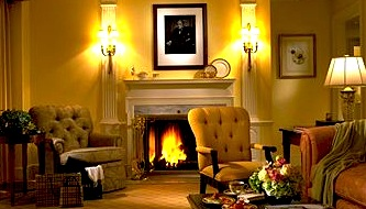 Photo of fireplace in suite in the Taj Hotel in Boston MA
