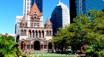 Copley Square, Trinity Church, and Hancock Tower across from Charlesmark Hotel in Boston