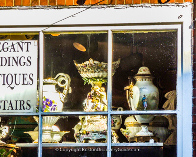 Antique shop in Boston's Beacon Hill neighborhood