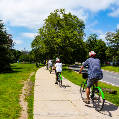 Family bike tour in Boston's Fenway neighborhood