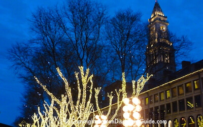 Christmas lights at Faneuil Hall Marketplace in Boston