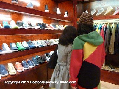 Beautifully arranged shoes in Bodega, hidden boutique in Boston's Fenway neighborhood
