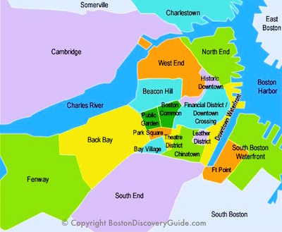 Boston Discovery Guide's city neighborhood map