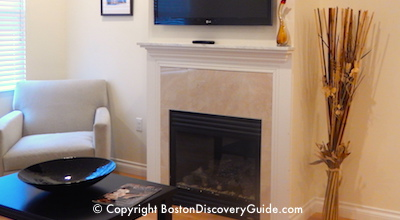 Find out about fireplaces in rooms at Bricco Suites in Boston