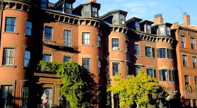 Victorian brownstones in Boston's Back Bay neighborhood