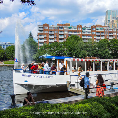 Charles River cruise departing from the dock in Boston